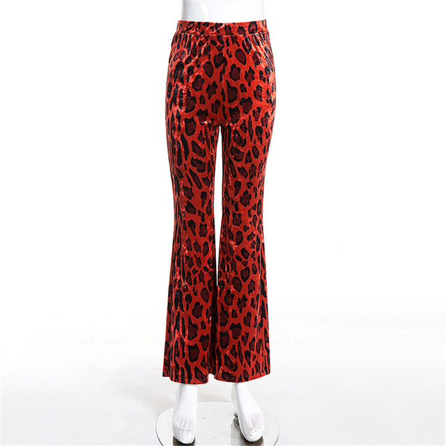 Fashion Red Leopard Print High Waist Bag Hip Wild Female Sexy Wide Leg Trousers Bell-bottoms Woman Loose Casual Autumn Pants