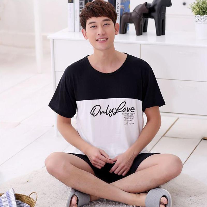 MISSKY 2019 Men Pajama Sets Summer Lovely Cartoon Soft Milk Silk Home Suit Male