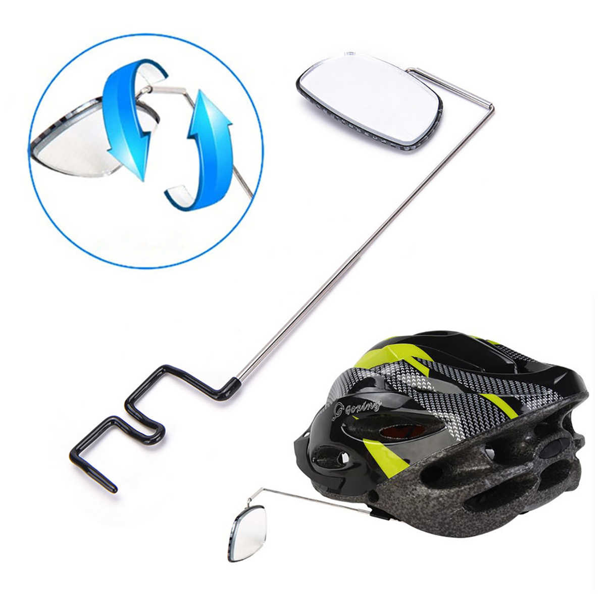Cycling Rear View Helmet Mount Aluminium Alloy Riding Mirror Bicycle Adjustable