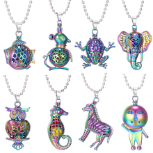2019 New Colorful Aromatherapy Necklace Diffuser Pendant Owl Elephant Essential Oil Locket Aroma