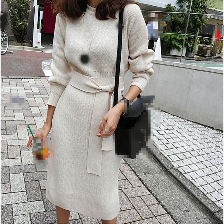 2018 Winter Women Knitted Pullover Sweater Dress Elegant Sashes Knitted Dress Long Sleeves Solid Pencil Dresses