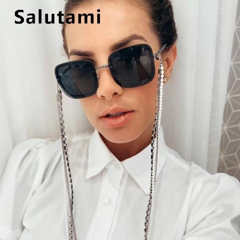 Rimless Chain Frame Women Sunglasses 2019 Luxury Brand Alloy Black Square Sun Glasses Female Vintage Sexy Shades Ins Hot