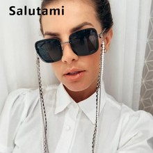 Rimless Chain Frame Women Sunglasses 2019 Luxury Brand Alloy