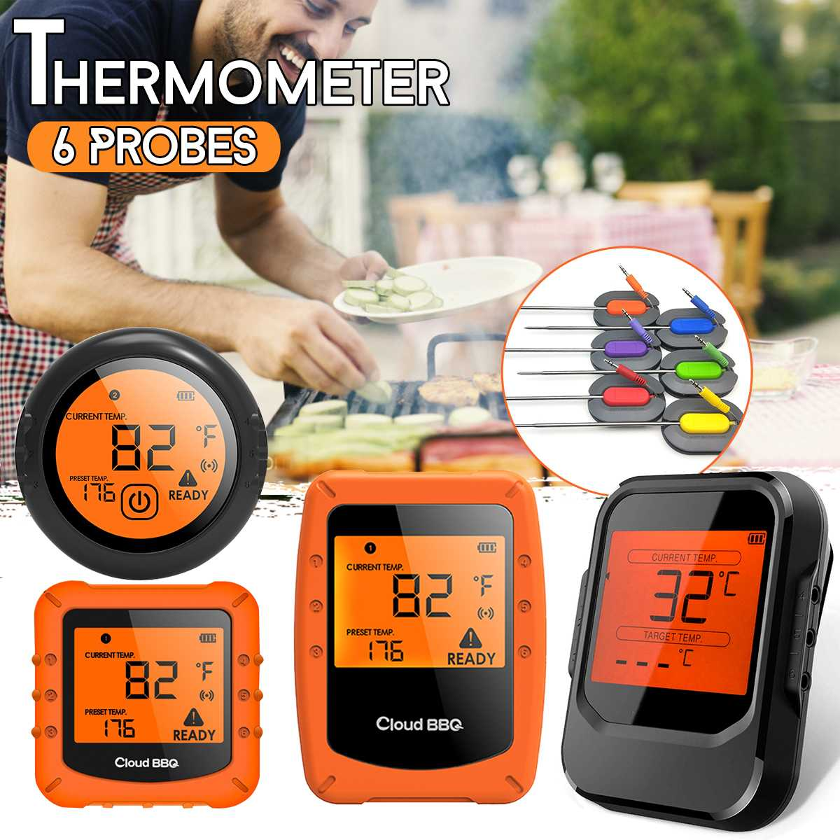 Digital Wireless BBQ Thermometer With 6 Probes bluetooth Control Food Cooking Timer Oven Meat Grill Thermometer Kitchen Tool(China)