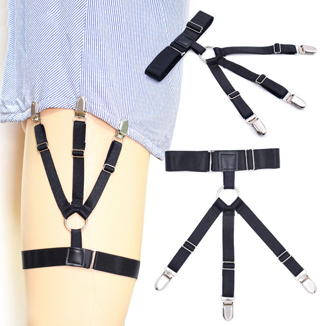 Braces Boys Elastic Three Clip-On Solid Strap Shirts Holder Mens Shirt Stays Suspenders Non-Slip Leg Ring Nylon Garter Shirt