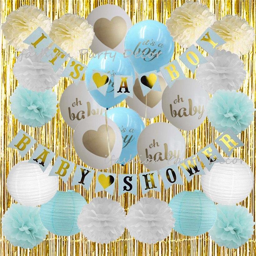 Детские украшения для душа для мальчика девушка с воздушными шарами баннер бумага цветок Золотая фольга бахрома комплект для занавесок для