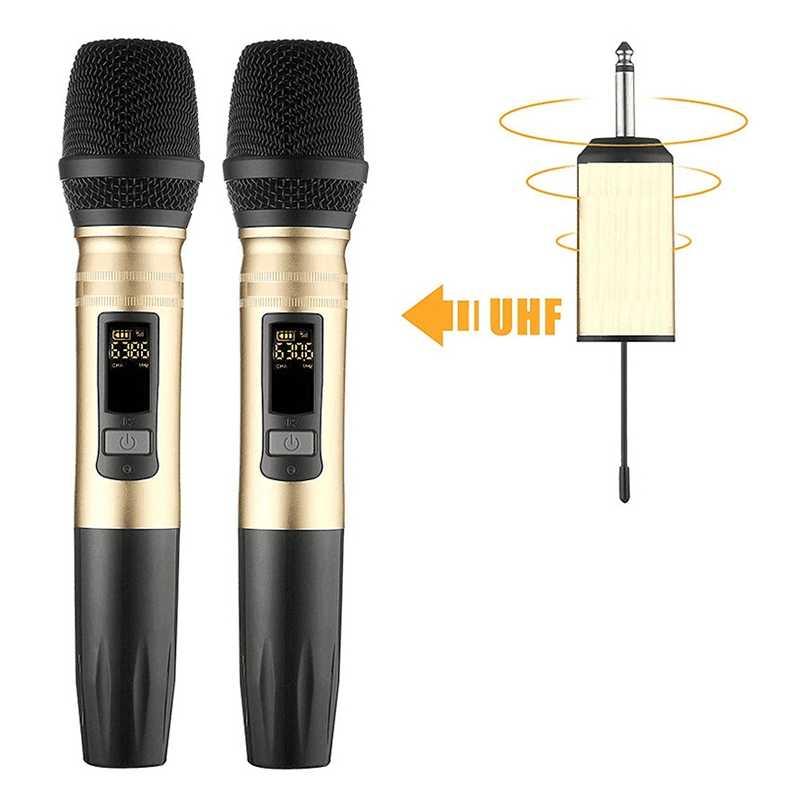 2 ピース/セット Ux2 Uhf ワイヤレスマイクシステムハンドヘルド Led マイク Uhf スピーカーポータブル Usb レシーバー Ktv Dj 音声 amplifie