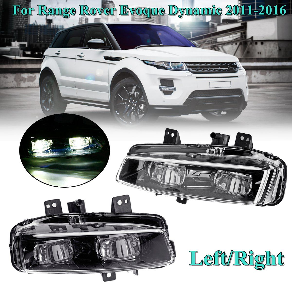 1 Pair Car front left Right Bumper Fog Light Lamp with bulb Replacement for Range Rover Evoque Dynamic 2011 2012 2013 14-161 Pair Car front left Right Bumper Fog Light Lamp with bulb Replacement for Range Rover Evoque Dynamic 2011 2012 2013 14-16