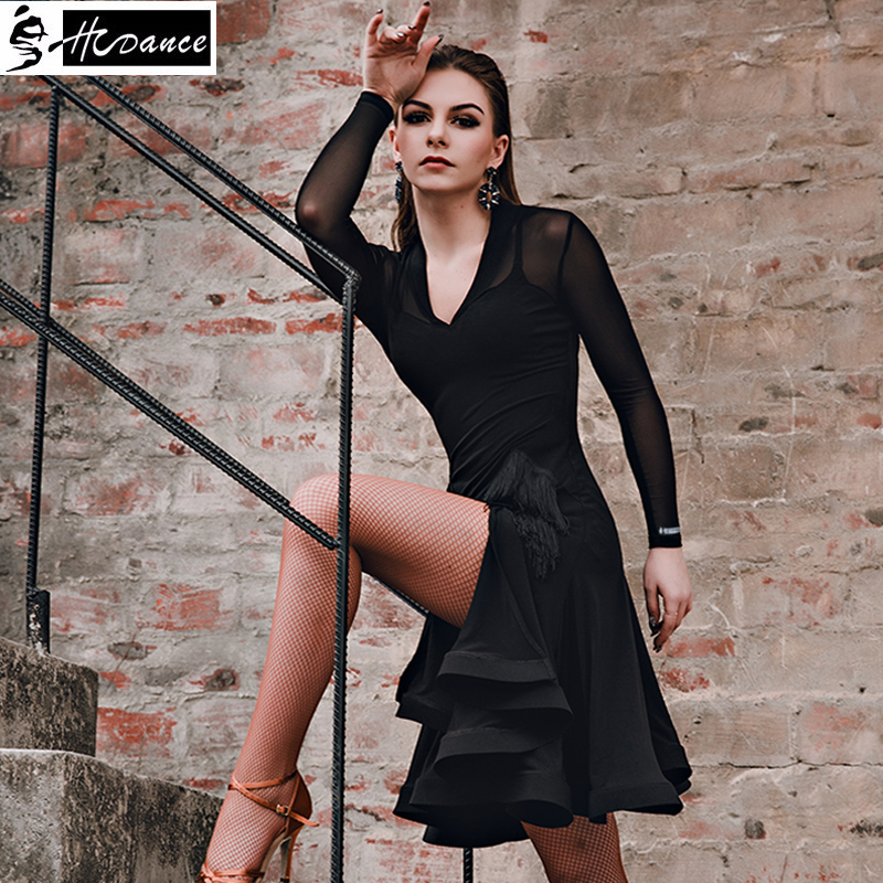 2019 New Brand 2 Colors Latin Dance Dress Women Sleeve Tango Rumba Flamengo Ballroom Dance Dress For Women Costume  A3161