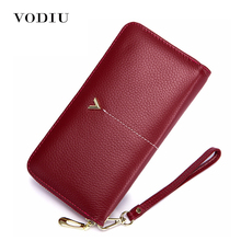 Wristlet Wallet Women Genuine Leather Long Purse Fashion Culutch Phone Pocket Large Capacity Cartera Zipper Slim