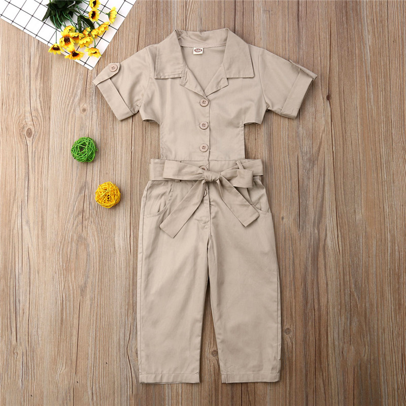 2-7T Summer Kids Girl Denim Coverall Jumpsuit Work Uniform Playsuit Button One-Piece Short Sleeve Casual   Romper