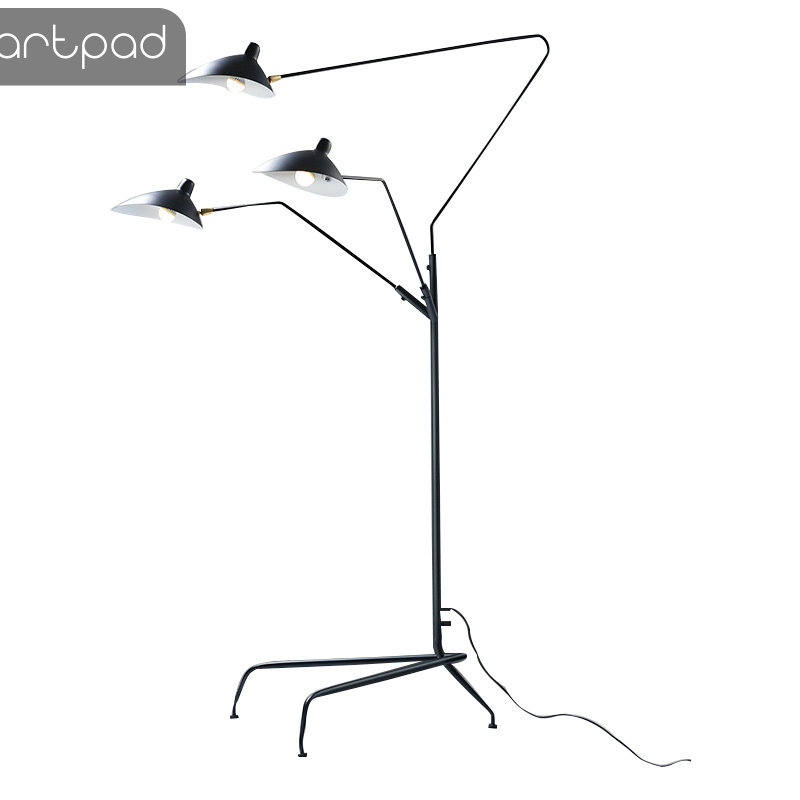 Modern Art Floor LED Lamp For Living Room Bedroom Study Office Lustre Black Standing Floor Light With Flexible Adjustable Head
