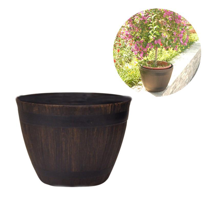 1PCS Large Tree Basin Imitation Rattan Extra Resin Wooden Garden Bonsai Outdoor Floor Plants Flower Tree Barrel Pot