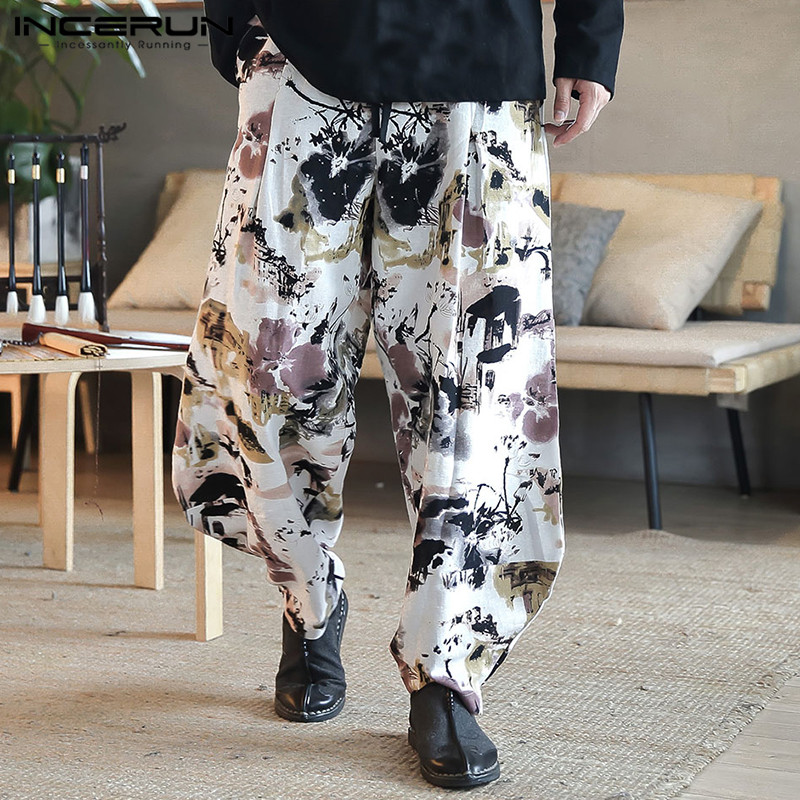 2020 Printed Streetwear Men Harem Pants Hiphop Loose Ethnic Retro Pantalon Hombre Drop Crotch Pants Joggers Trousers Men INCERUN