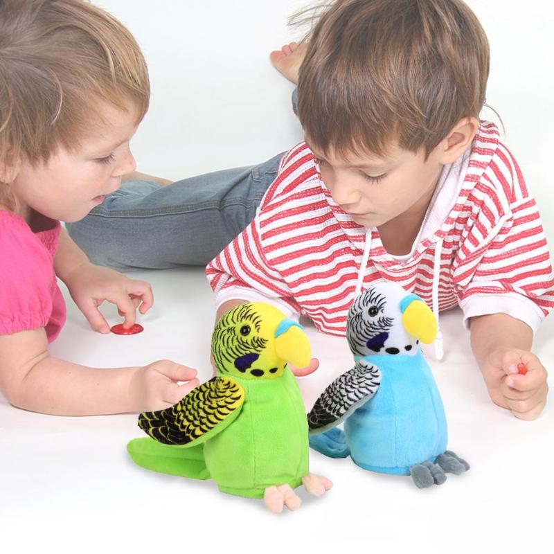Newborn Baby Electric Talking Parrot Toys Speaking Record Repeats Waving Wings Plush Stuffed Cartoon Plush Toys Christmas Gifts