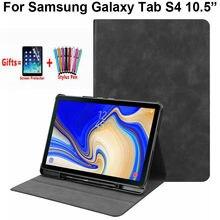 Модный чехол-подставка спереди для Samsung Galaxy Tab S 4 S4 10,5 T835 T830, умный чехол с отделением для карандашей и откидной крышкой, с рисунком в виде слот...