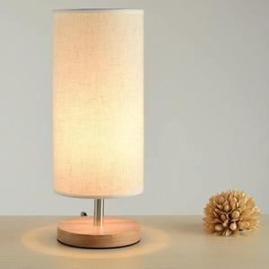 Image 3 - Lampe de bureau en tissu au Design moderne, éclairage de chevet, Base en bois, pour chambre à coucher, salon, bibliothèque des étudiants E27 220V