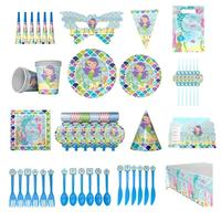 1 Set Little Mermaid Decorate Children Birthday Party Decor Cartoon Ocean Green Balloon Plate Wedding Supply Decorate Suits