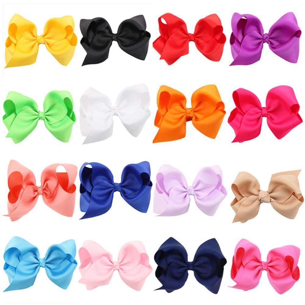 16 Colors 4.5inch Boutique Hair Bows Girls Kids Alligator Clip Grosgrain Ribbon Headbands Hair Clips
