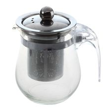 EAS-350mL Heat-resistant Clear Glass Teapot Stainless Steel Infuser Flower Tea Pot