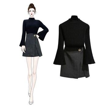 Spring Horn Sleeve Knit Irregularly Split Stripes Bust Skirt Of Tall Waist Black Top Knitwear Vestido marled knit crop top with split skirt