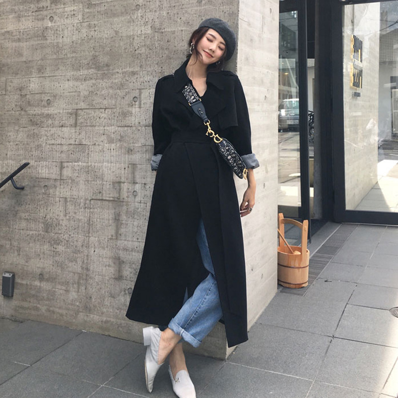 Spring Black Windbreaker Female New Casual Long   Trench   Coat Women's Overknee Chic Early Autumn Loose Coat manteau mujer outwear