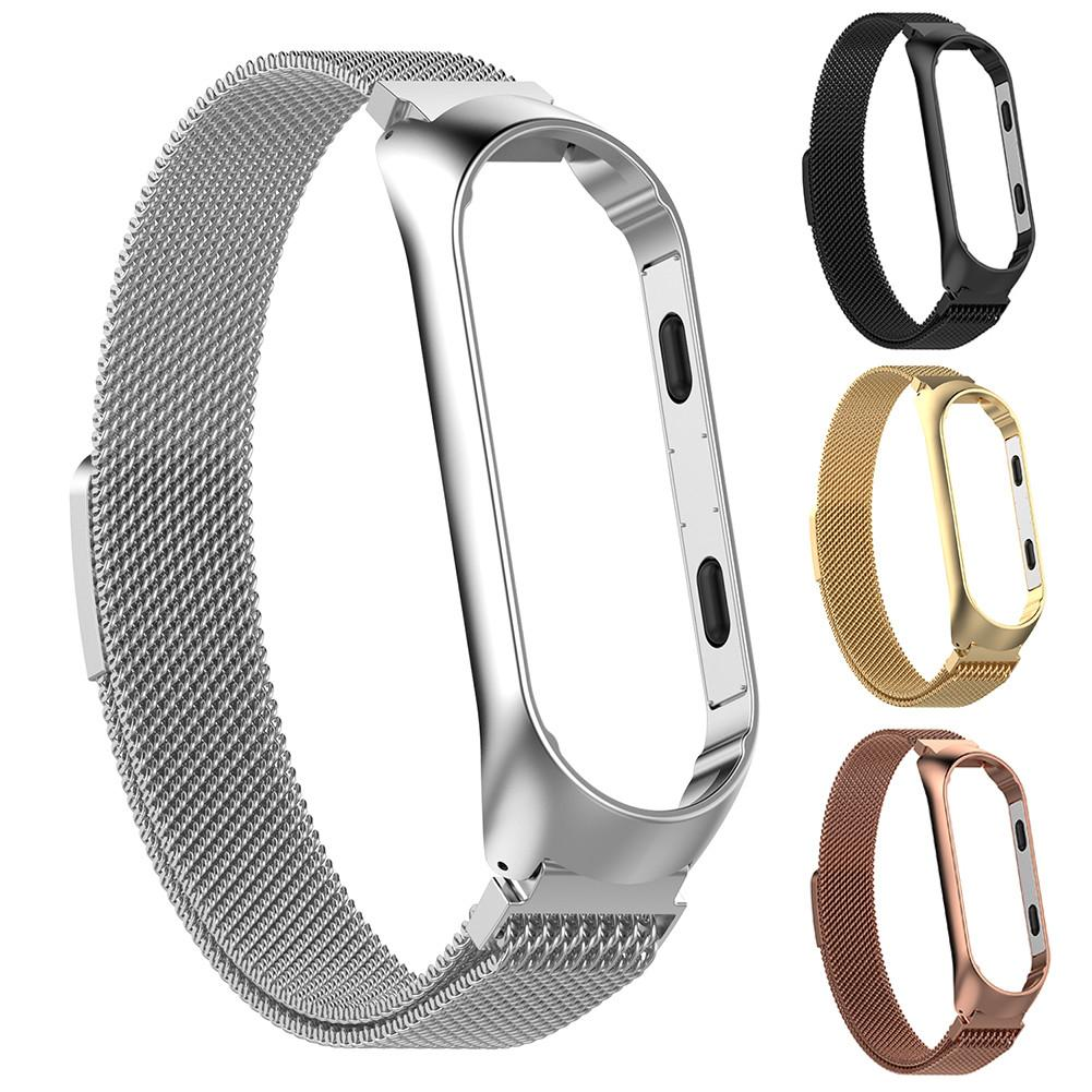 Magnetic Milanese Stainless Steel Watch Band Luxury Wrist Strap For MiBand 3 Smart Bracelet Screwless Easy To Install And Remove-in Smart Accessories from Consumer Electronics