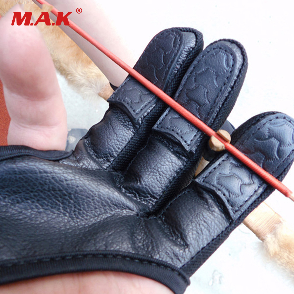 3 Finger Gloves Black Leather High Elastic Hand Protection Archery Protective Gloves for Archery font b
