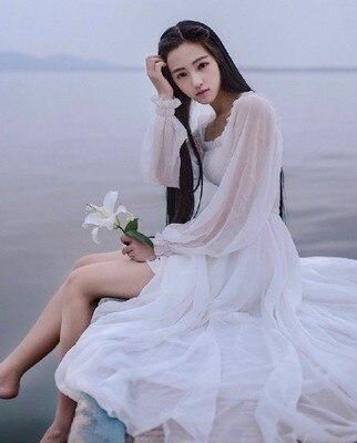 Girls Fairy Chiffon Maxi Dress Womens White Dresses Long Lantern Sleeve Fantasy Princess Elegant High Quality Floor Length Dress