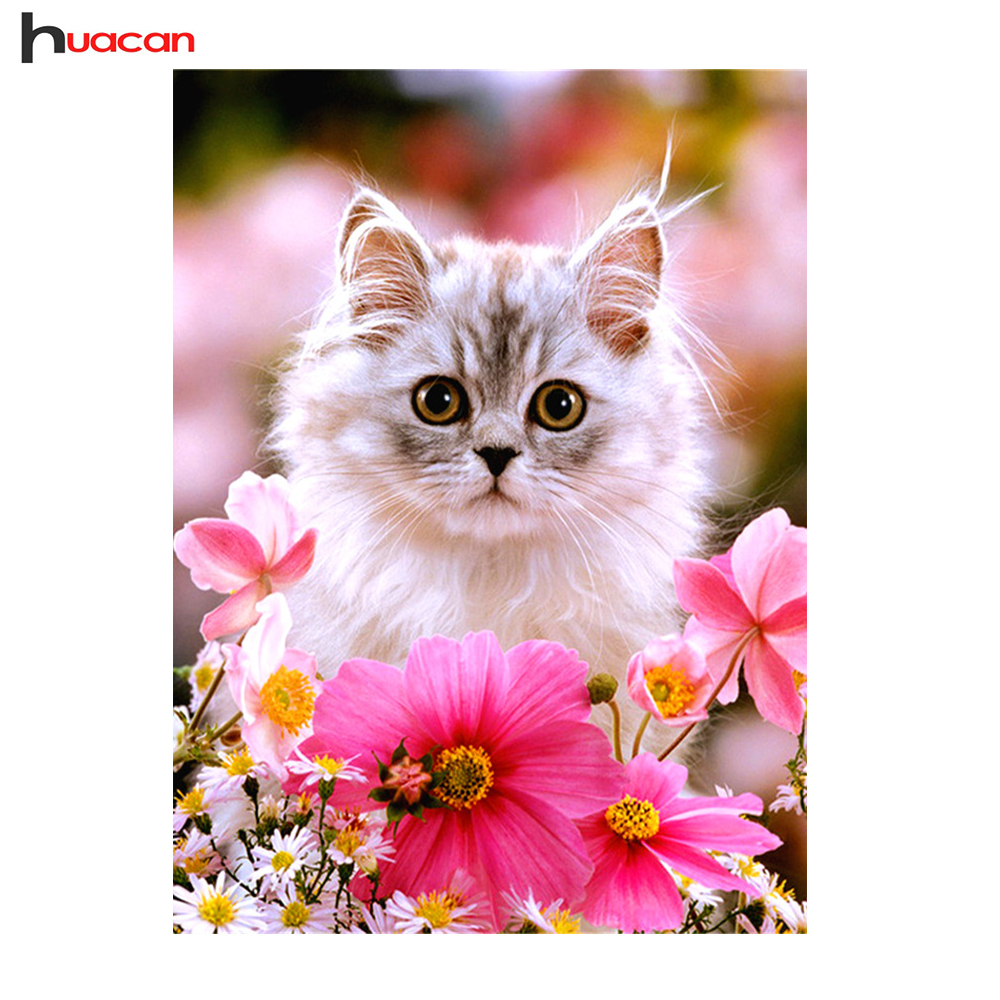 Huacan Cat and Flower Diamond Painting Embroidery with Crystal Animals Diamond Cross Stitch Square Picture of Rhinestones DecorHuacan Cat and Flower Diamond Painting Embroidery with Crystal Animals Diamond Cross Stitch Square Picture of Rhinestones Decor