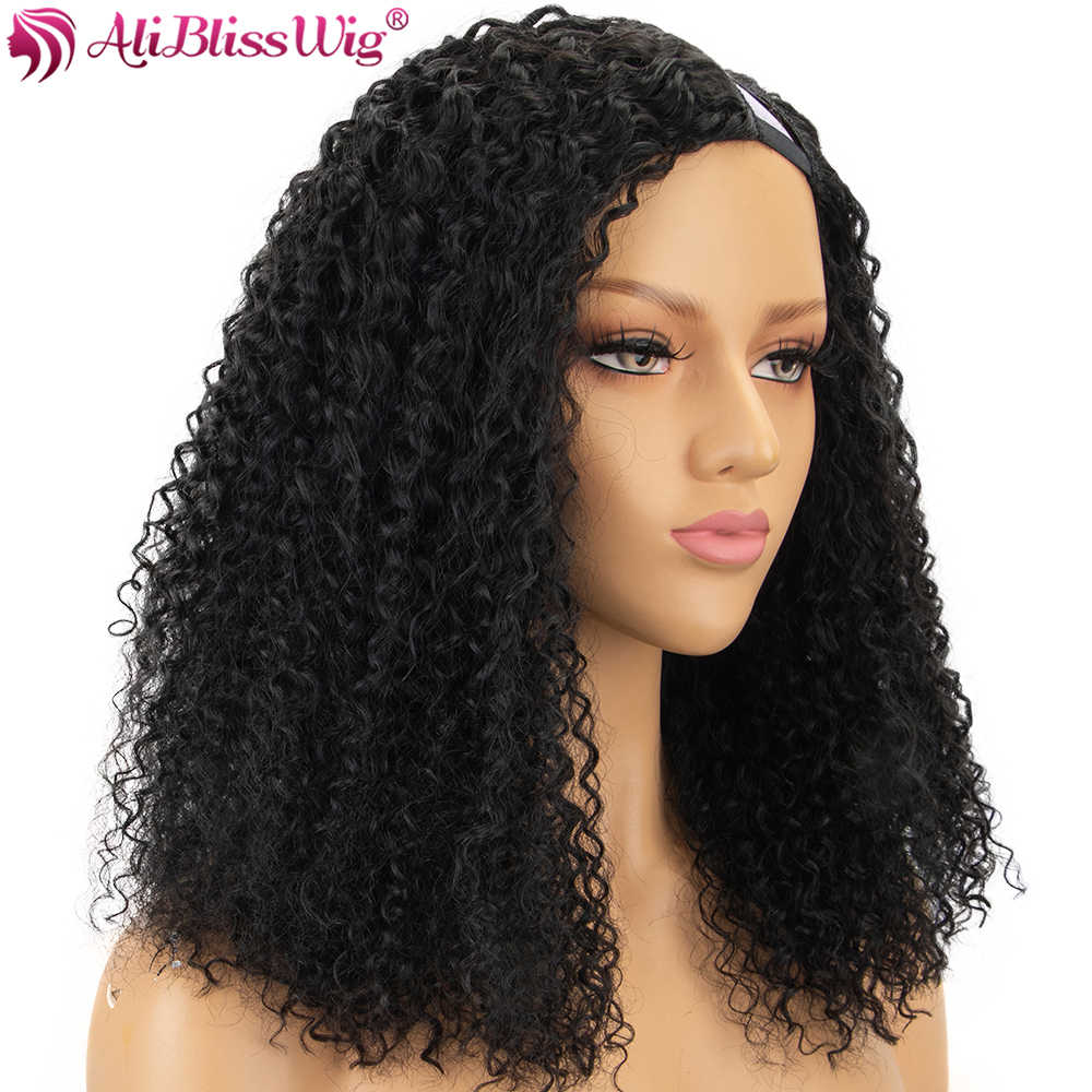 Curly U Part Wigs 150% Density Human Hair wigs For Black Women Left Part Brazilian Remy Hair Curly Wigs Full End Aliblisswig