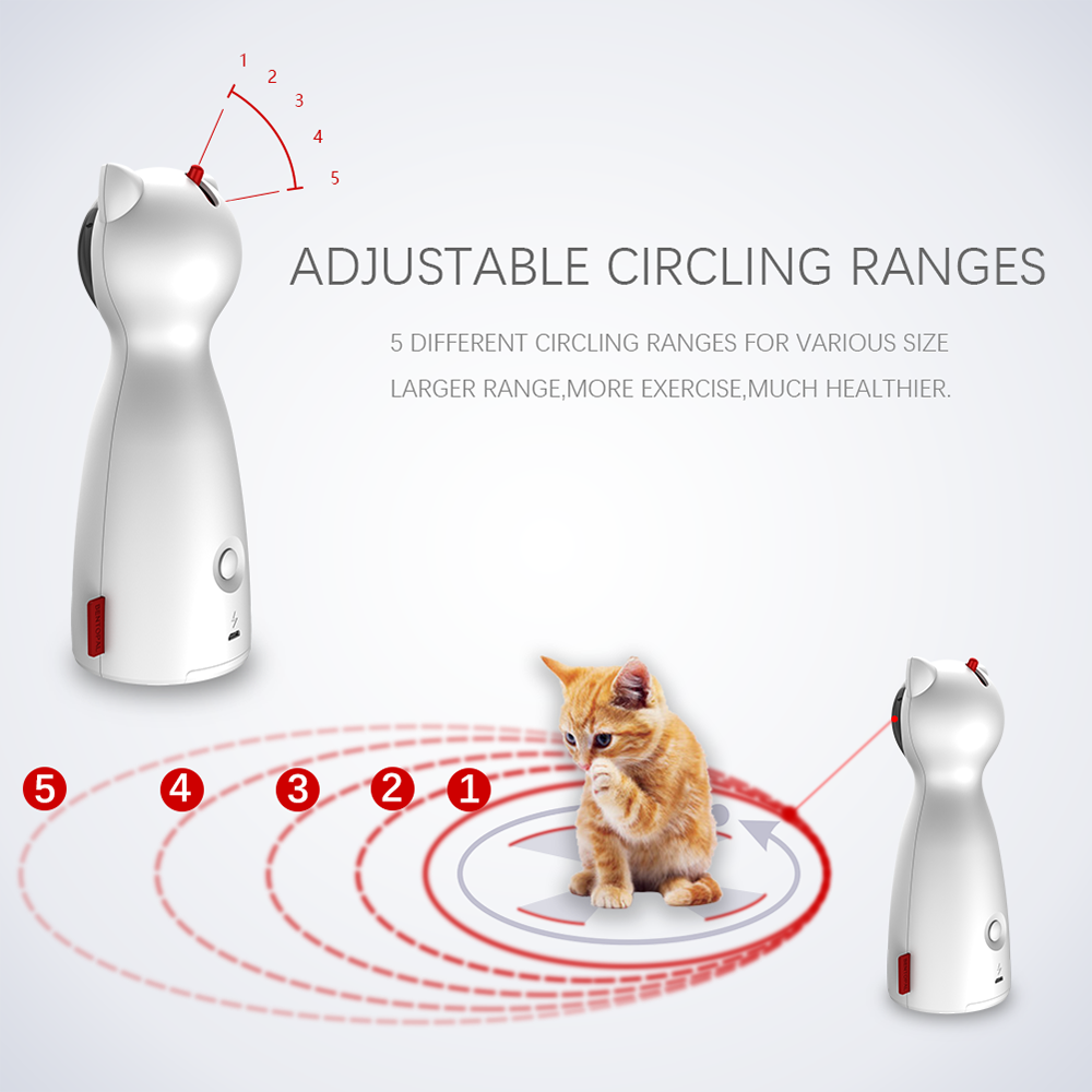 Cat Laser Toy Laser Electric Pet Toy Cat Interactive Laser Teasing Device Adjustable 5 Mode Pet Laser Funny Training USB Charge