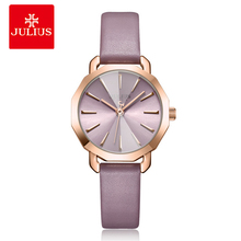 Julius Brand Women Leather Bracelet Watches Fashion Ladies Purple Quartz Wristwatch Rose Gold Female Dress Watch Reloj Mujer