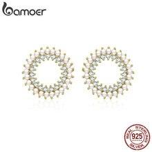 BAMOER Pearl Silver Earrings 925 Sterling Silver Geometric R