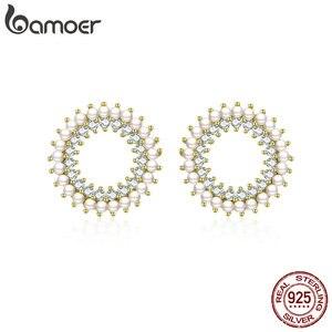 BAMOER perła srebro kolczyki 925 Sterling srebrny geometryczny okrągły kolczyki sztyfty dla kobiet Ear Pin europejskiej biżuterii BSE070