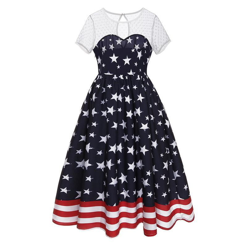 Short Sleeve Round Neck Waist Summer Big Swing Dress Fashion Retro 50s Stars Striped Stitching Sexy Perspective Mesh Dress