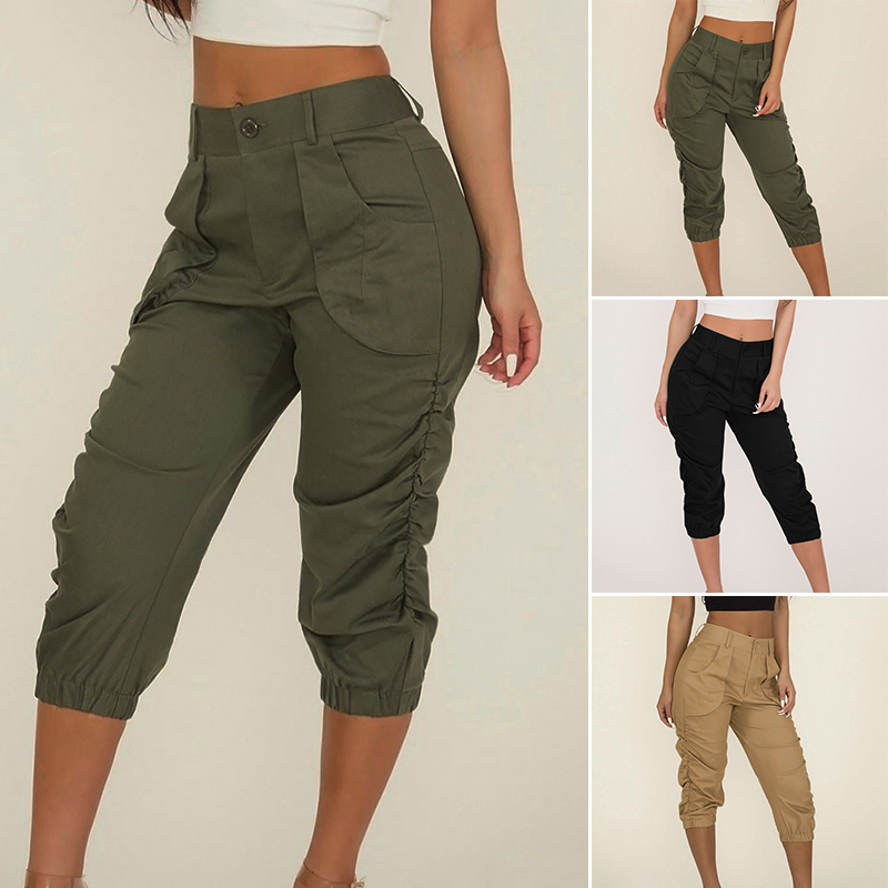 e5b04017 Pants Women Ladies Cropped Capri Pants Casual Summer Solid Tapered Trousers