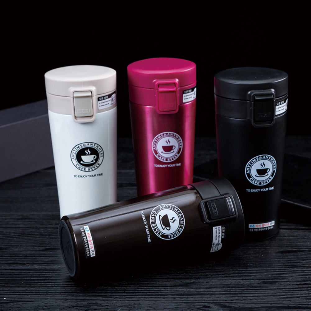 2019 Hot Quality Premium Double Wall Travel Coffee Mug Stainless Steel Thermos Tumbler Cups  Travel Vacuum Flask Thermocup 380ML(China)