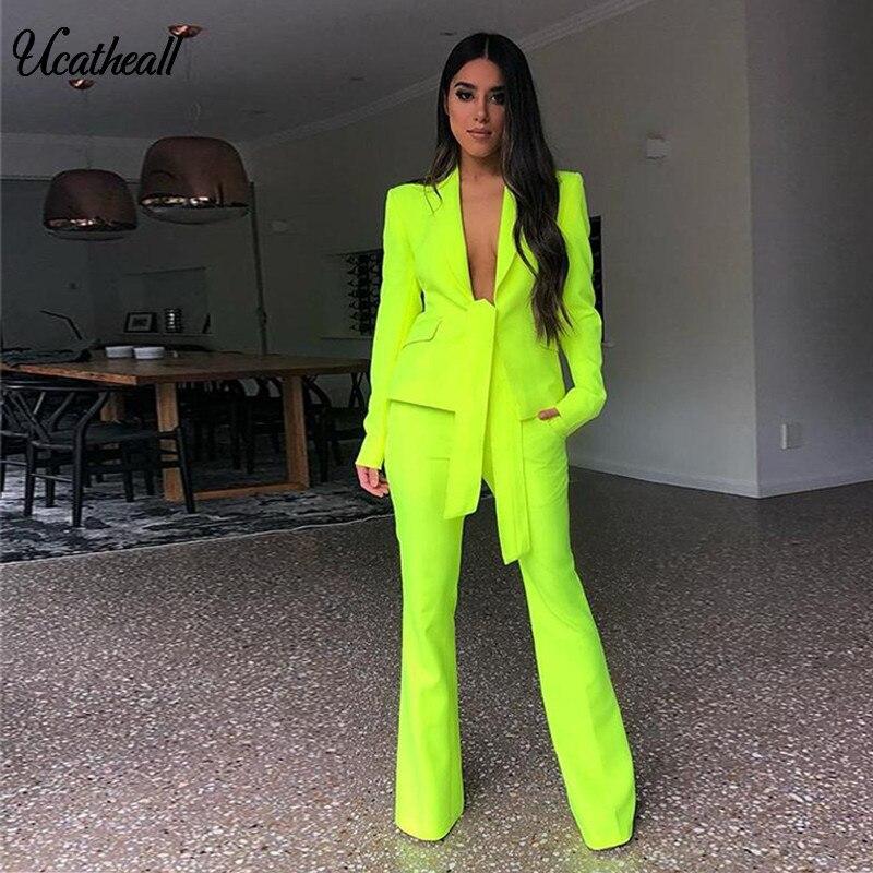 Slim chaqueta + Pantalones Formal elegante pantalones traje trajes Slim Fit mujer V profundo Corte + Pantalones rectos 2 piezas trajes