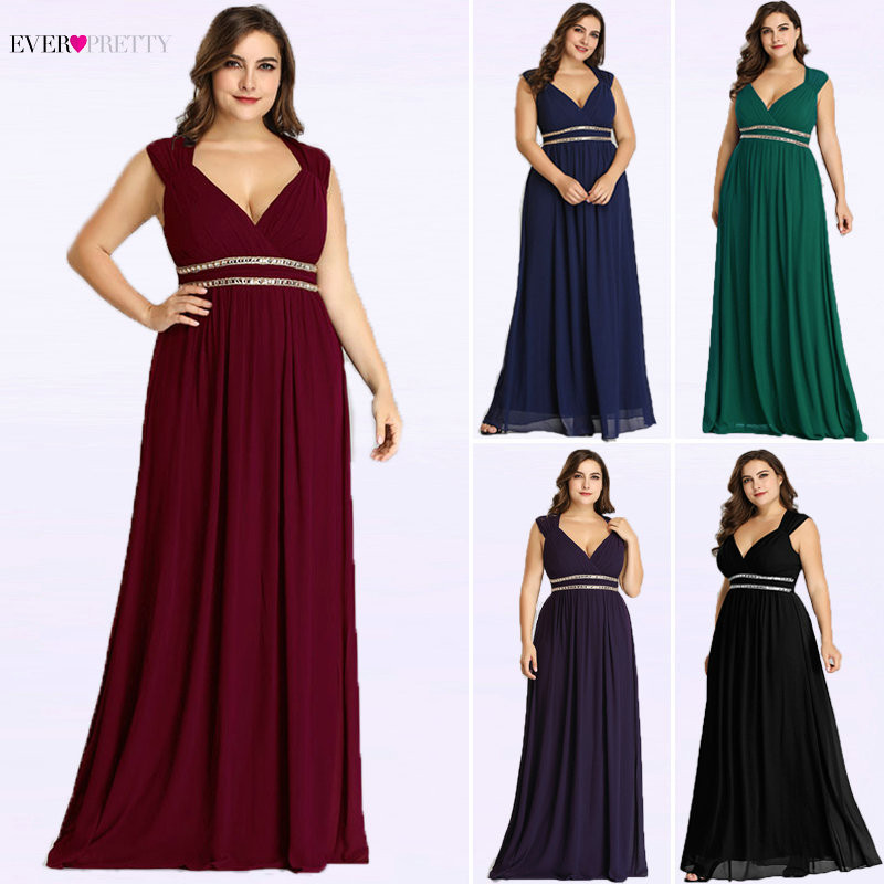 Mother Of The Bride Dresses Plus Size Ever Pretty Long Women Elegant Burgundy V Neck Formal Party Gowns Robe Mere De La Marie