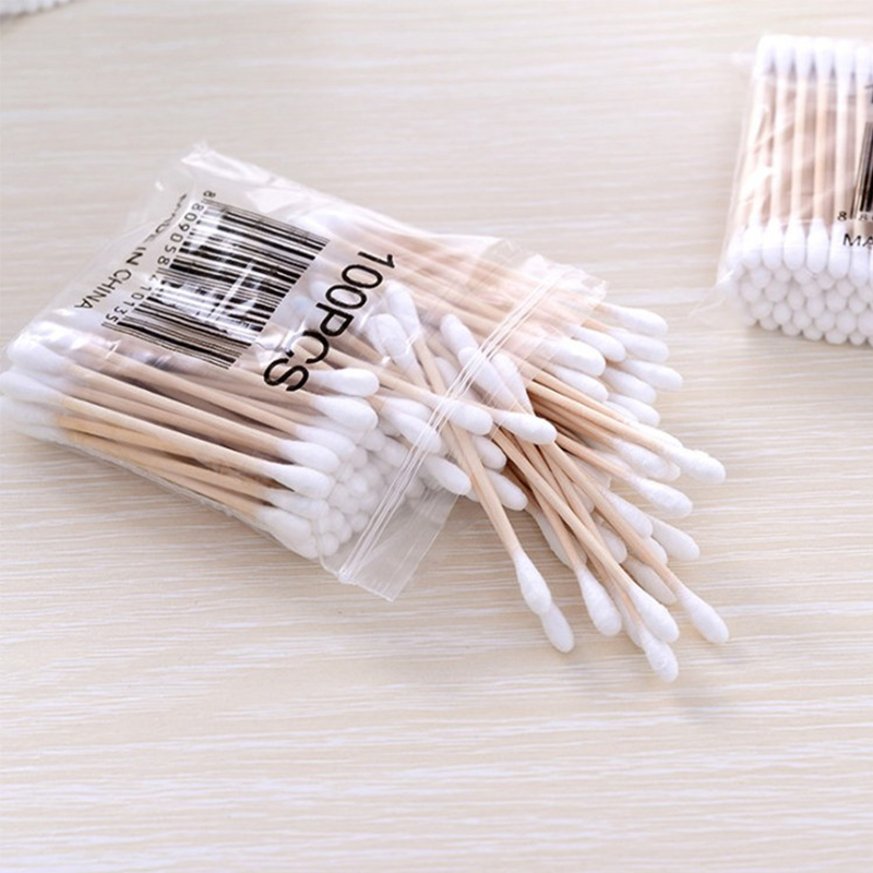 Fashion 100PCS Cotton Swabs Ear Cleaning Makeup Health Tools Tampons Bamboo Wood Sticks Medical