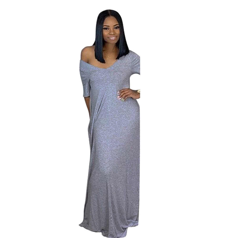 be062293922 ... V Neck Short Sleeve Sexy Maxi Dresses 2019 Women Solid Color Loose Floor -Length Robe ...