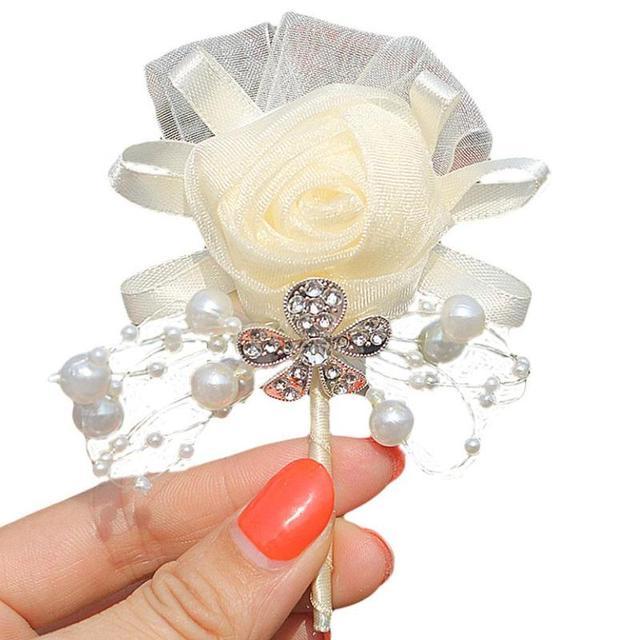 1pcs/lot Ivory Wedding Corsages Boutonniere Groom Diamond Crystal Wedding Flowers Beaded Brooch Flowers