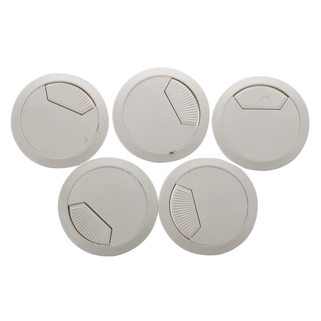 Promotion! 5 Piece Office Desk Table Computer 60 Mm Cable Pin Hole Cover- Gray Hard Plastic
