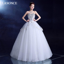 LASONCE Crystal Strapless Lace Ball Gown Wedding Dresses Off The Shoulder Bow Tiered Tulle Backless Bridal Gowns цены онлайн