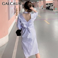 GALCAUR Spring Striped Backless Shirt Dress Women Lapel Long Sleeve Loose Ruched Long Dresses Female Fashion 2019 Casual New