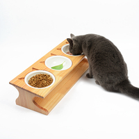 Solid wood Pet dining table bowl Pet wooden Tilted Feeders Dog cat Anti slip three Bowl Cat Dish with Slope stand CW122