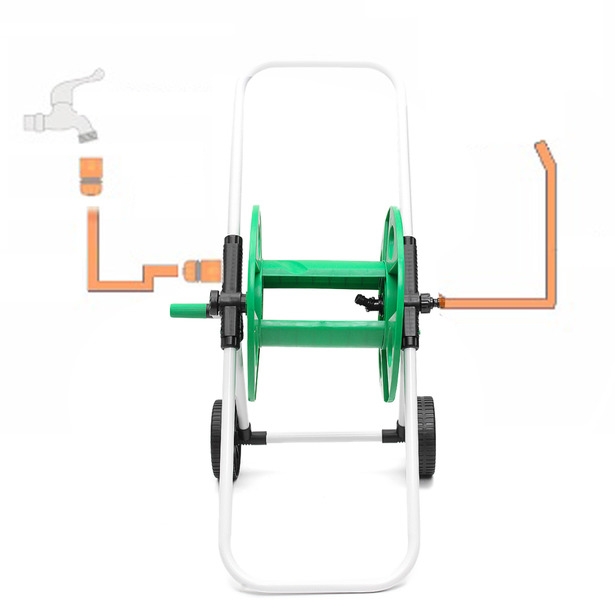 portable water hose pipe rack garden watering trolley abs metal car washing truck hose waterpipe cart tools 30x42x75cm in garden hoses reels from home  [ 1200 x 1200 Pixel ]