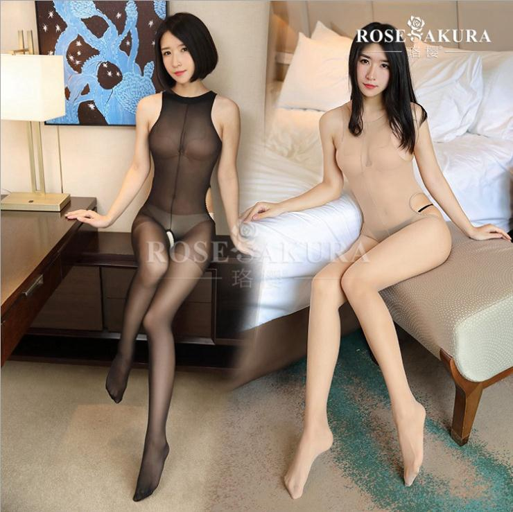 Crotchless sheer bodystocking Full Body vest pantyhose ultra-thin transparent  open crotch Strap Tights Stocking0703(China)