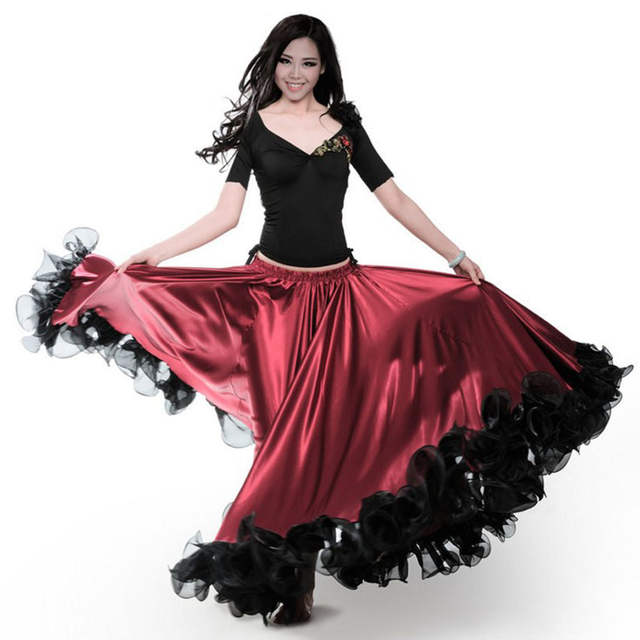Fashion Plus Size Gypsy Style Female Spanish Flamenco Skirt Performance  Belly Dance Costumes Ruffle Lace Dress Team Performance